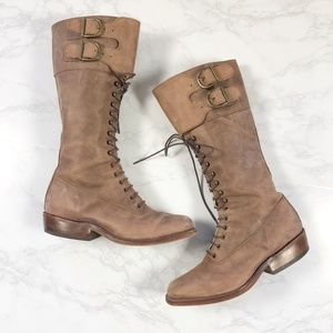 Tony Mora Tan Leather Lace Up Buckle Boots 7